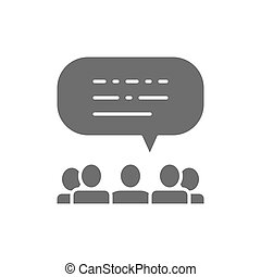 People with speech bubbles, feedback, opinion of people, reviews grey icon.