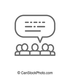 People with speech bubbles, feedback, opinion of people, reviews line icon.