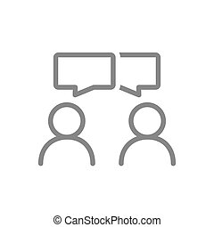 People with speech bubbles line icon. Conversation, diskussion, feedback, review symbol