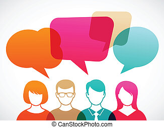 people with speech bubbles - people icons with colorful...