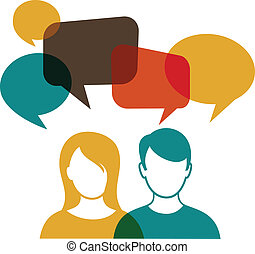 people with speech bubbles - people icons with colorful ...