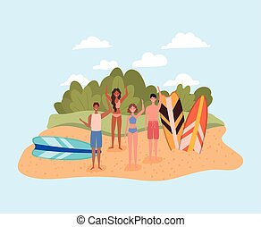 people with swimsuits and surfboards at beach design, Summer vacation tropical and relaxation theme Vector illustration