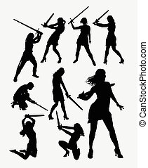 People with sword silhouette