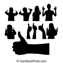 People with Thumbs Up Silhouette