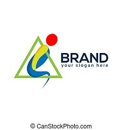 People With Triangle Logo, Abstract People. Vector Illustration on white background