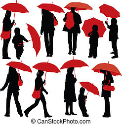 People with umbrellas - Set of vector silhouettes of people...