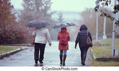 People with umbrellas walking in the street in a snowy and rainy autumn wet day. 1920x1080 . Depressive weather