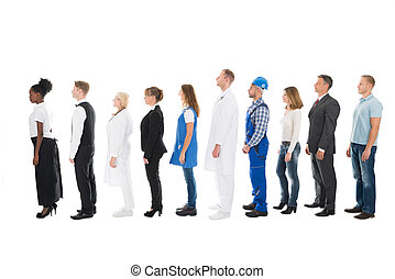 People With Various Occupations Standing In Queue