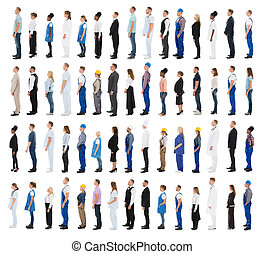 People With Various Profession Standing In Line - Collage Of...