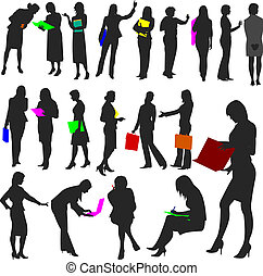Illustrations set of women in the work place in silhouette