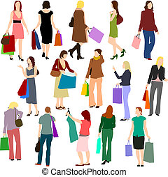 People - Women Shopping No.1. - Illustrations set of women...