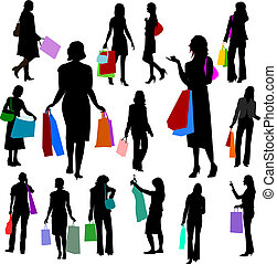 People - Women Shopping No.2. - Illustrations set of lots of...