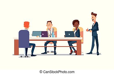 People Work in Office. Vector Illustration.