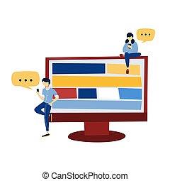 People work on the computer. Idea of web design
