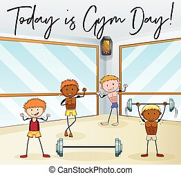 People work out in gym illustration