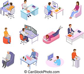 People work place vector business worker character person working on laptop computer at the table in office illustration isometric set of man woman coworkers workplace isolated on white background