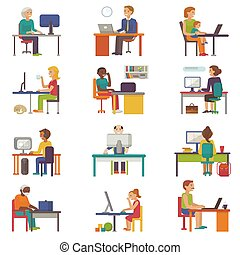People work place vector business worker or person working on laptop at the table in office coworker or character workplace on computer with illustration isolated on white background
