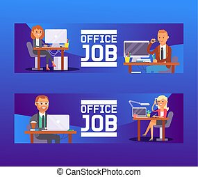 People work place vector business worker or person working on laptop computer at the table in office backdrop of coworker character workplace illustration background
