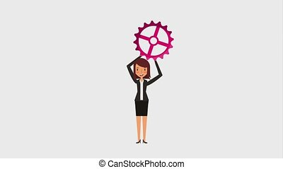 people work team animation hd - business woman holding gear...