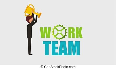 people work team animation hd - businessman holding trophy...