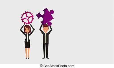 people work team animation hd - people work team gear puzzle...