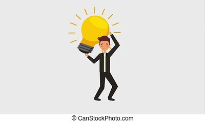 people work team animation hd - young man holding big bulb...