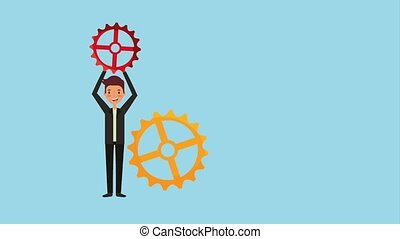 people work team animation hd - young man holding gear work...