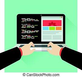 People Work using laptop, Coding Geek