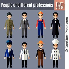 people workers - Set of people workers in uniform icons in...