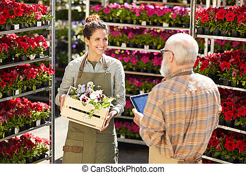People Working at Flower Market