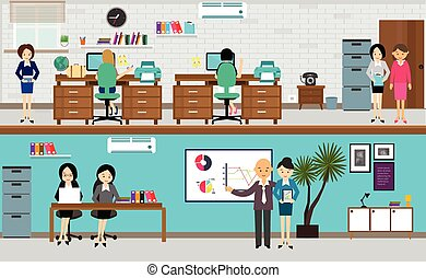 people working at office in flat vector illustration busy teamwork desk computer standing presentation