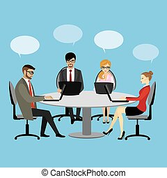 People working at the desk business discussion teamwork