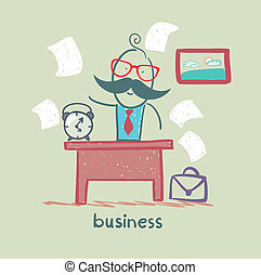people working at the desk business