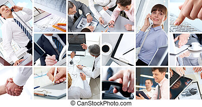 People working - Collage of Four businesswomen sitting at...