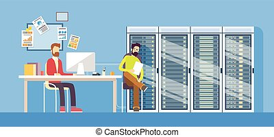 People Working Data Center Technical Worker Man Administrator Sitting Desk Hosting
