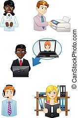 people working icons set
