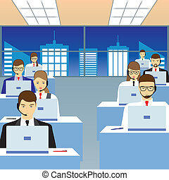 People working in a call center. Office.