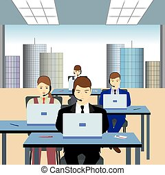People working in a call center.