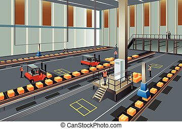 People Working in a Warehouse - A vector illustration of...