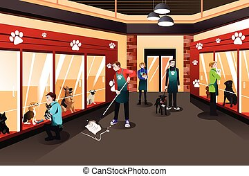 People Working in Animal Shelter - A vector illustration of...