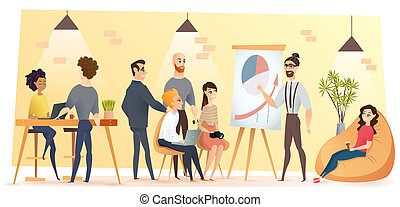 People Working in Coworking Office Cartoon Vector