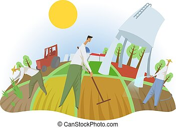 People working in the field, fisheye view. Farming, ecotourism, kibbutz. Colorful flat vector illustration. Isolated on white background