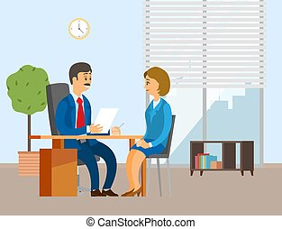People working in the office. Positive communication of colleagues. Girl interviewed by the director