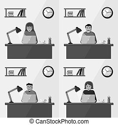 People working in the office. Set of vector illustrations.