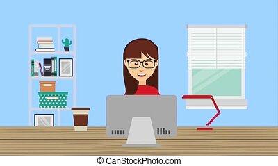 people working laptop - woman using laptop in workspace...