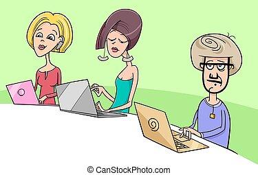 people working on notebooks cartoon illustration