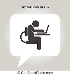 people working on the computer vector icon