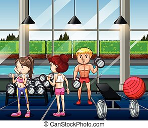 People working out in the gym illustration