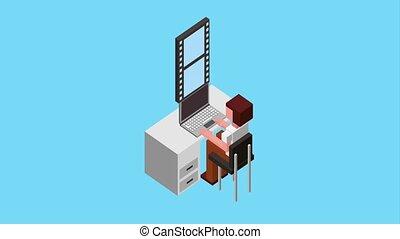 people working process - man working in his laptop sending...