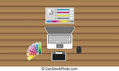 people working process - workspace laptop graphic tablet...